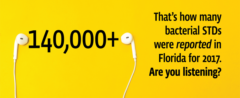 In this banner their is a pair of ear buds and text that states the following. one hundred forty thousand plus That's how many bacterial STDs were reported in Florida for 2017. Are you listening?